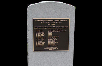 Pennsylvania State Troopers Memorial Plaque