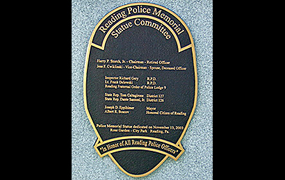 Reading PA Police Plaque